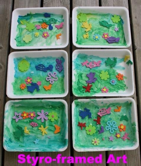styrofoam spring art with foam flowers - happy hooligans
