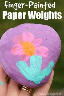Finger painted paper weights - happy hooligans