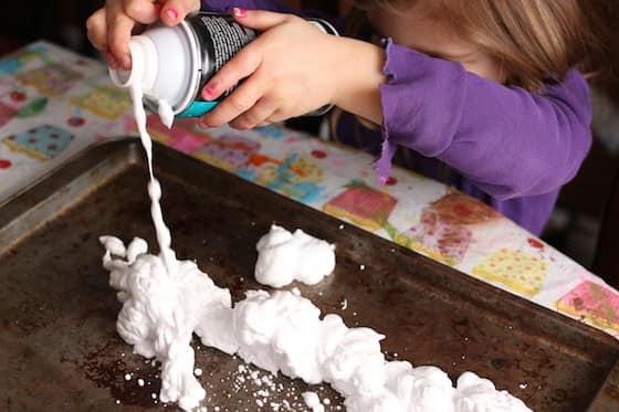 shaving cream on baking sheet