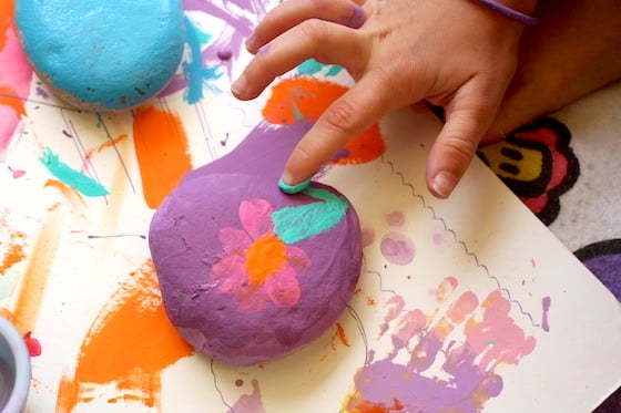 finger painting on a stone