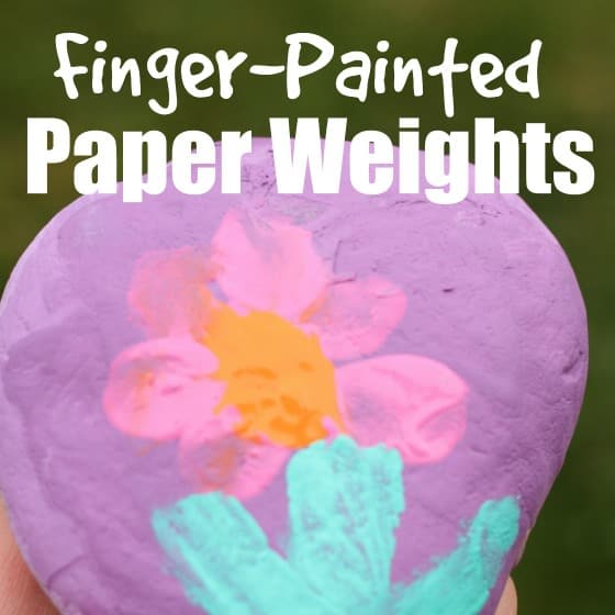 finger painted paper weights for kids to make and give