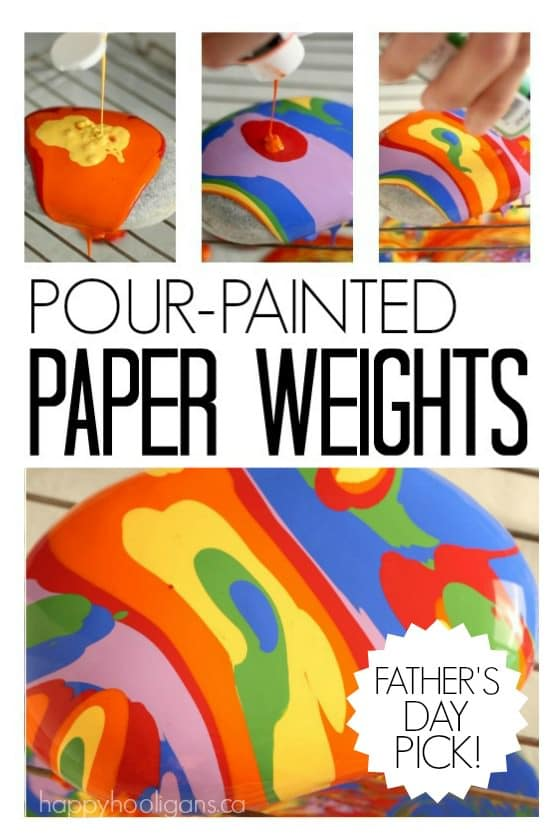 Pour Painted Paper Weights Father's Day craft