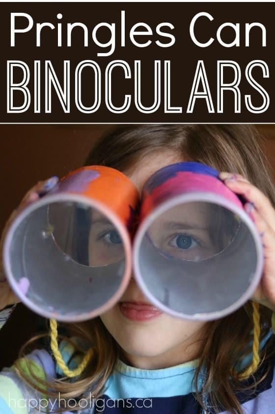 Pringles Can Binoculars - easy, inexpensive preschool craft. Great for pretend play, scavenger hunts, I Spy etc. - Happy Hooligans