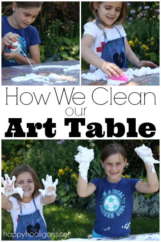 A fun way for kids to clean the art table - Happy Hooligans