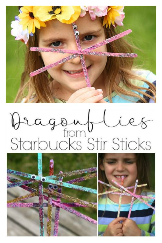 little girl wearing flowered tiara holding stir stick dragonfly craft up to her face