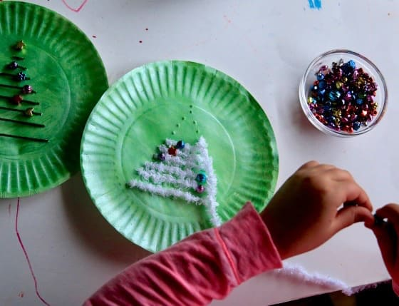 Christmas tree sewing activity for kids