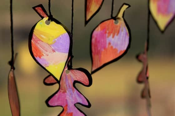 coloured leaves for kids sun catcher craft