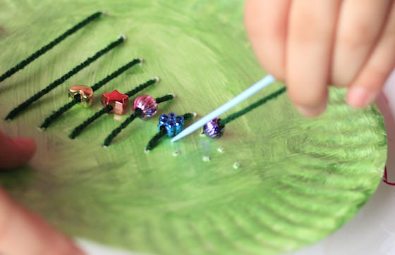 lacing christmas tree activity with beads