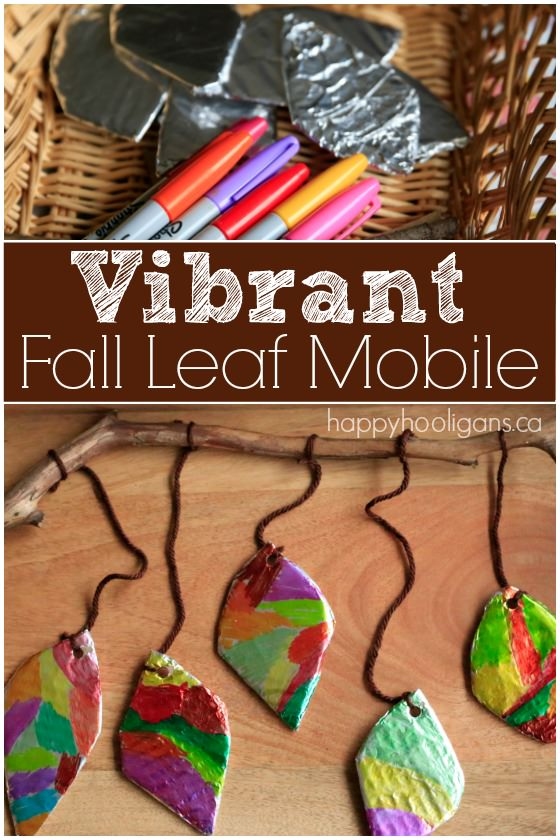 Vibrant Fall Leaf Mobile with Tin Foil and Sharpies - Happy Hooligans
