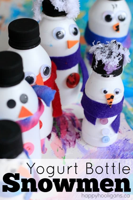 Adorable Yogurt Bottle Snowmen Craft - great way to put some recylables to good use in a winter craft for the kids!