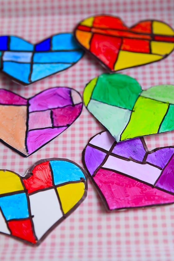 6 coloured hearts for valentines Day