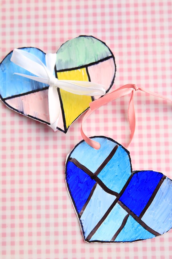 Coloured Heart Ornaments with ribbons