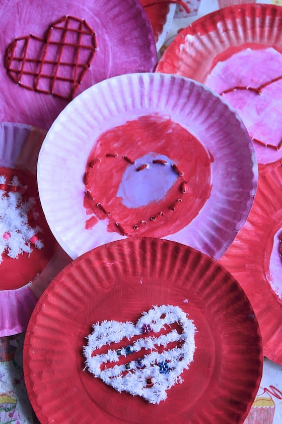 Heart Lacing Activity on Paper Plates