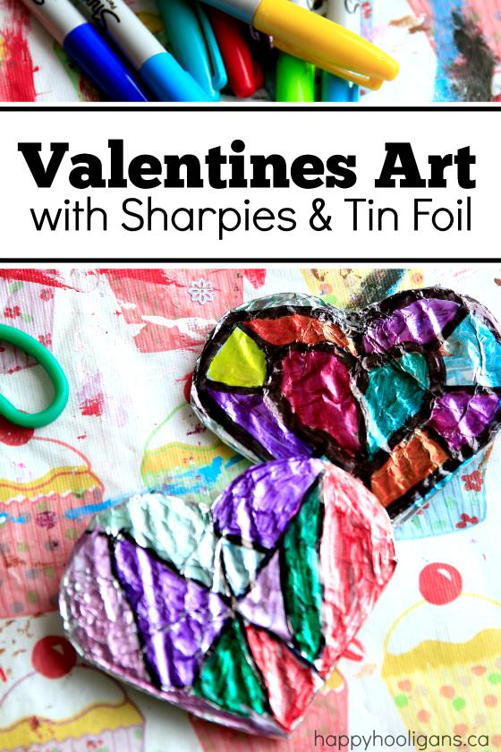 Making Valentines Art with Sharpies and Tin Foil