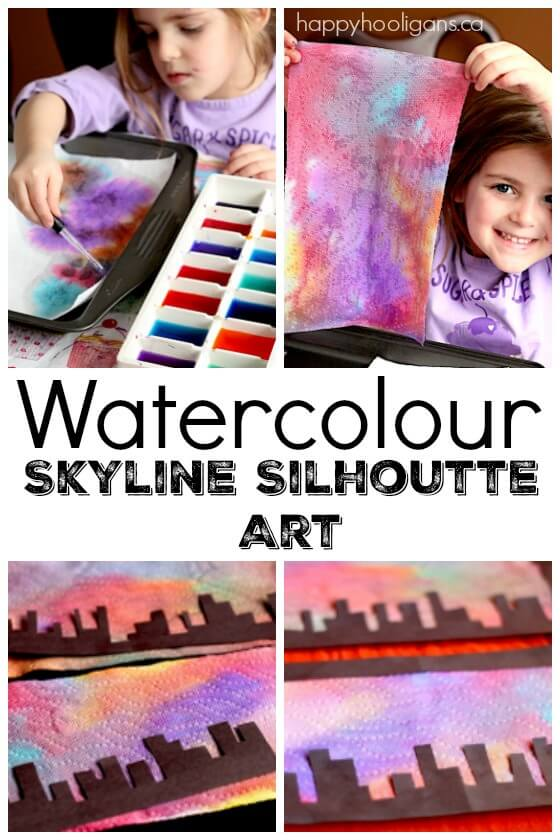 Watercolour Skyline Silhouette Art Project for Kids