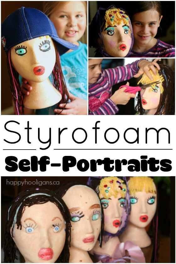 Styrofoam Head Self-Portrait Craft for Kids - Happy Hooligans