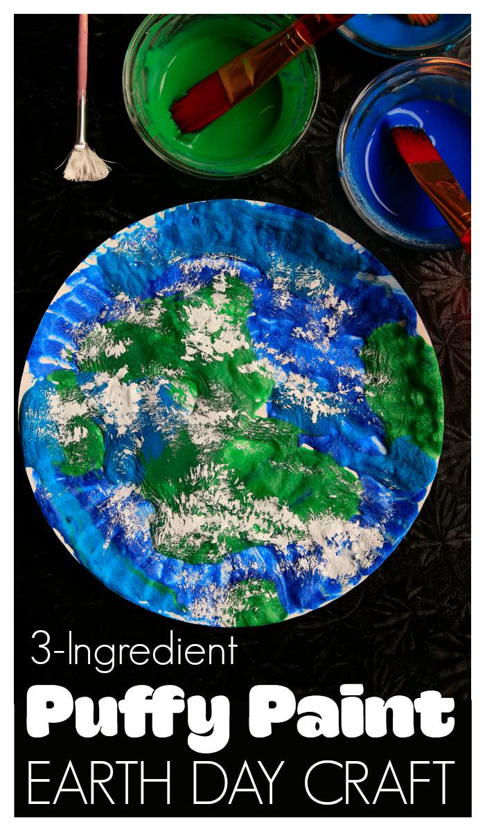 Earth Day craft made with easy 3-Ingredient Puffy Paint