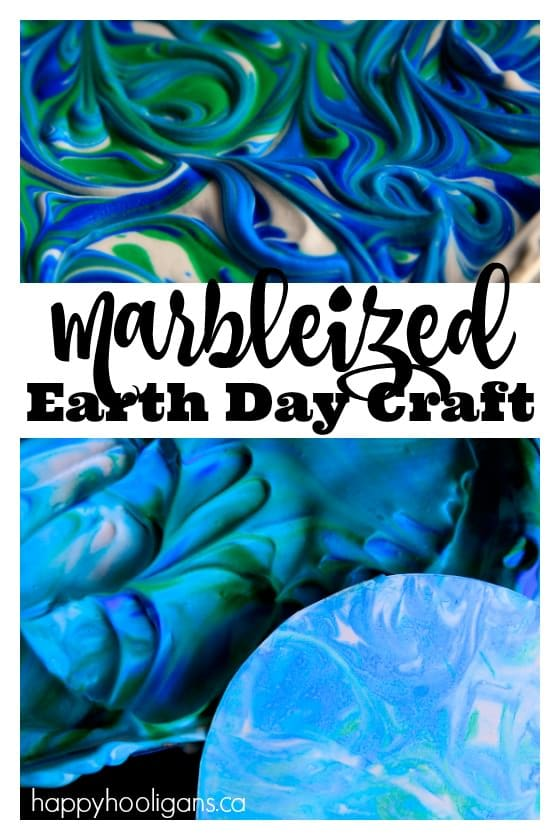 Marbleized Earth Day Craft with Shaving Cream and Liquid Watercolours