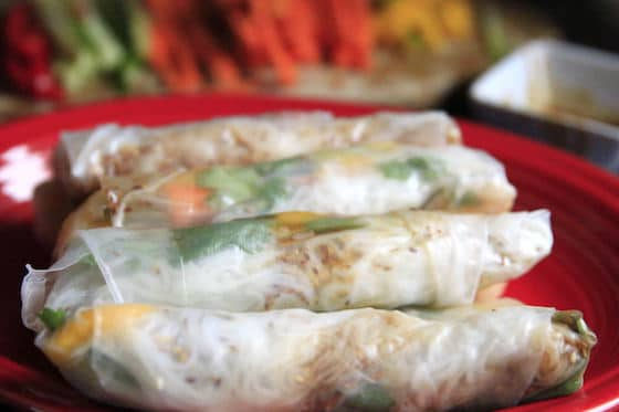Cold spring rolls stuffed with fresh vegetables and cilantro