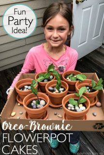 Birthday girl holding Oreo-Brownie Flowerpot Cakes