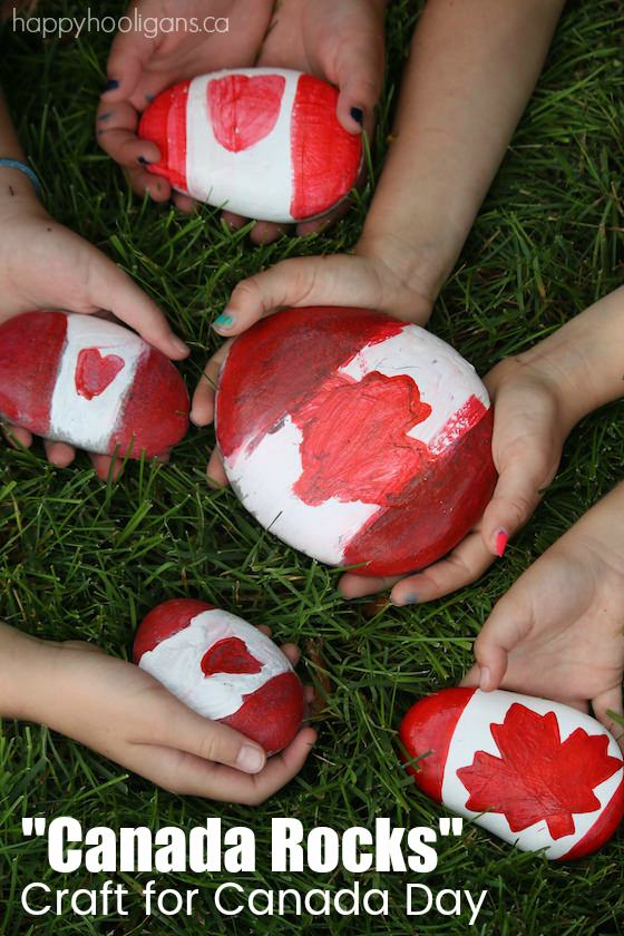 Canada Rocks - Painted Rock Craft for Canada Day - Happy Hooligans