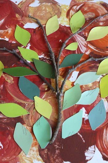 paint chip apple tree craft for preschoolers