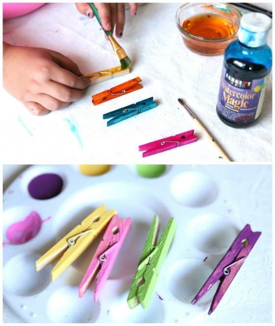 painting and colouring clothespins