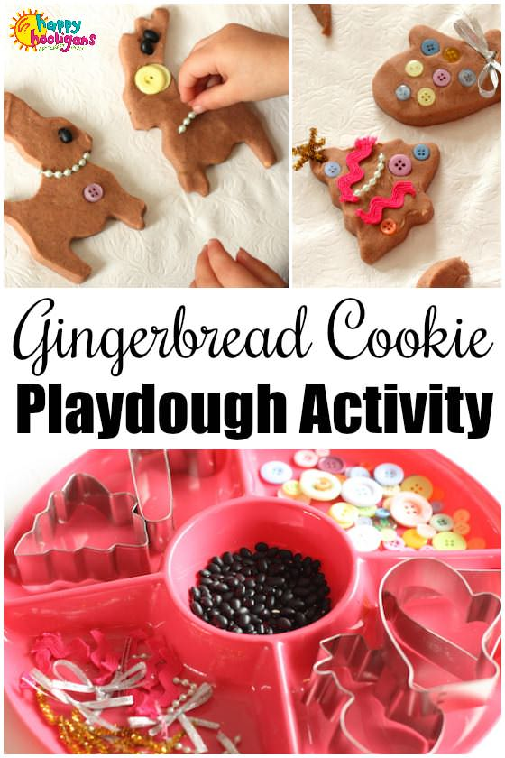 Gingerbread Play Dough Cookie Decorating Activity - Happy Hooligans