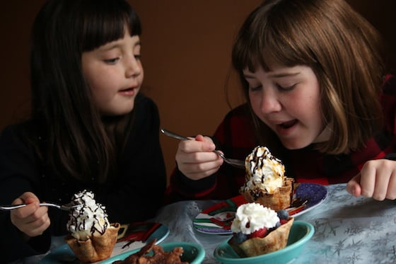 kids eating ice cream in tortilla bowls