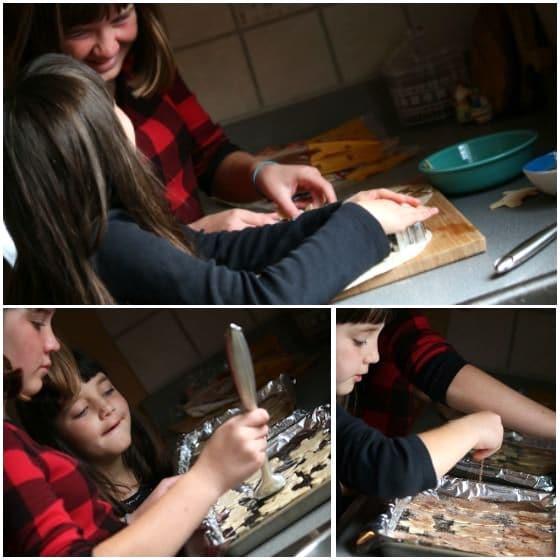 kids making cinnamon sugar tortilla bowls and crisps