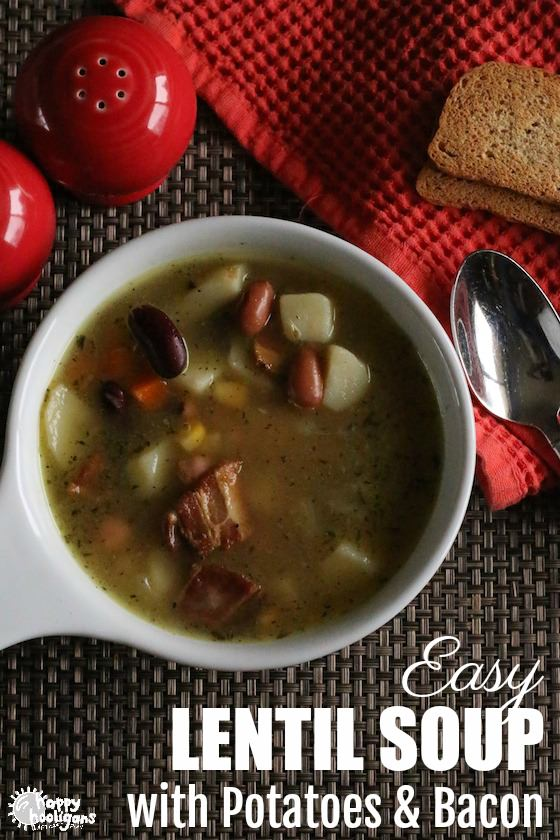 Easy Lentil Soup with Potatoes, Bacon and Mixed Vegetables