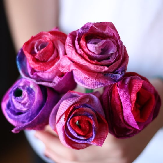 Bouquet of paper towel roses