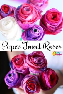 Paper Towel Roses Valentines Craft for Kids - Happy Hooligans