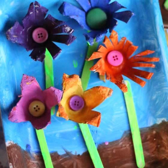 5 Egg Carton Flowers on Styrofoam Tray