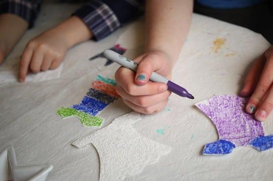 kids colouring paper dresses