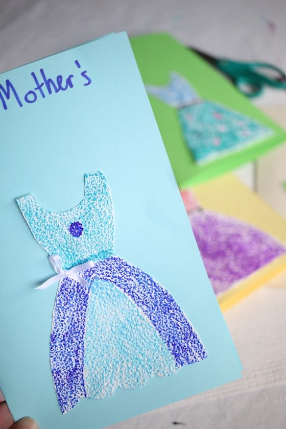 mothers day card with blue dress