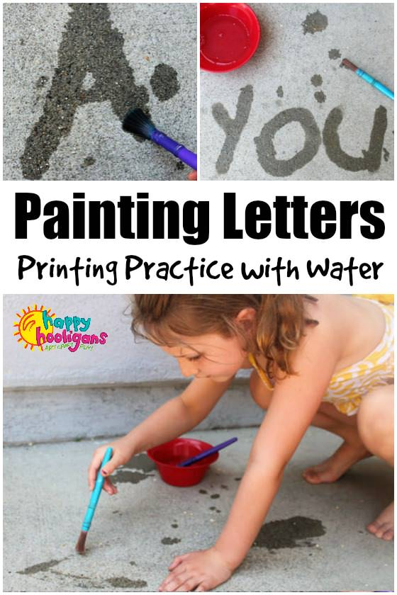 Painting Letters with Water - a fun pre-writing activity for kids