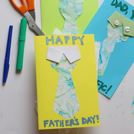 cute Father's Day tie cards scissors and markers