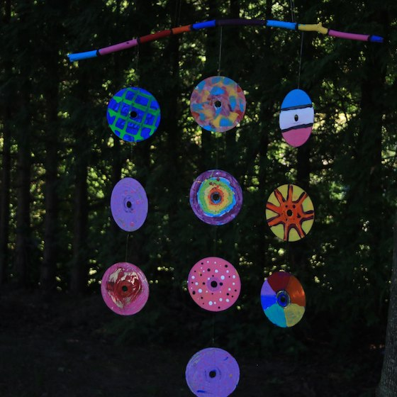 Colourful Mobile made by kids from old CDs and DVDs