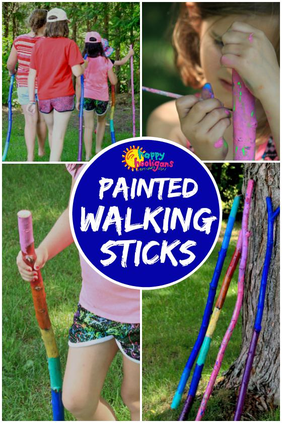 Painted Walking Sticks for Kids - Happy Hooligans