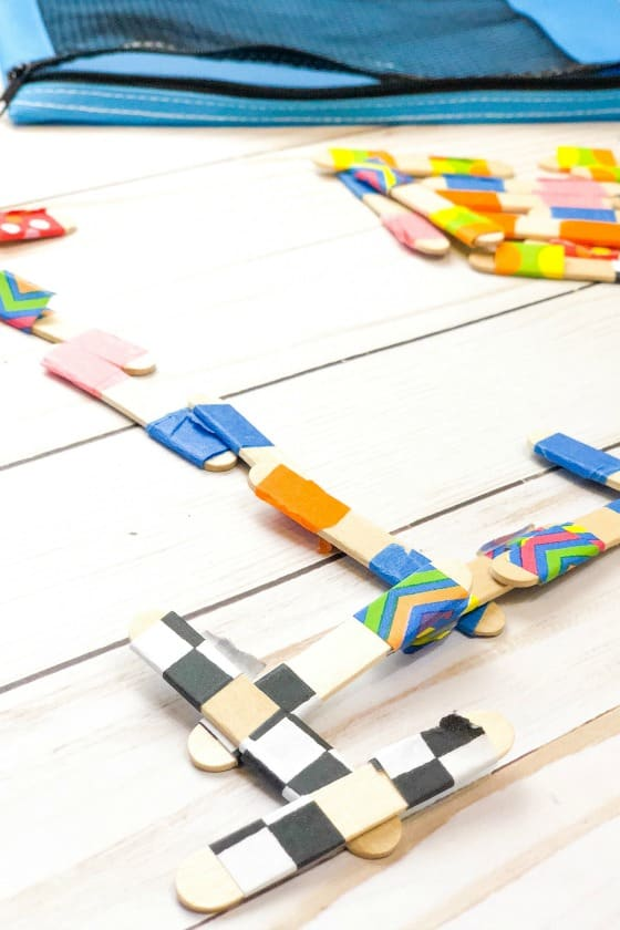 craft stick dominoes with washi tape