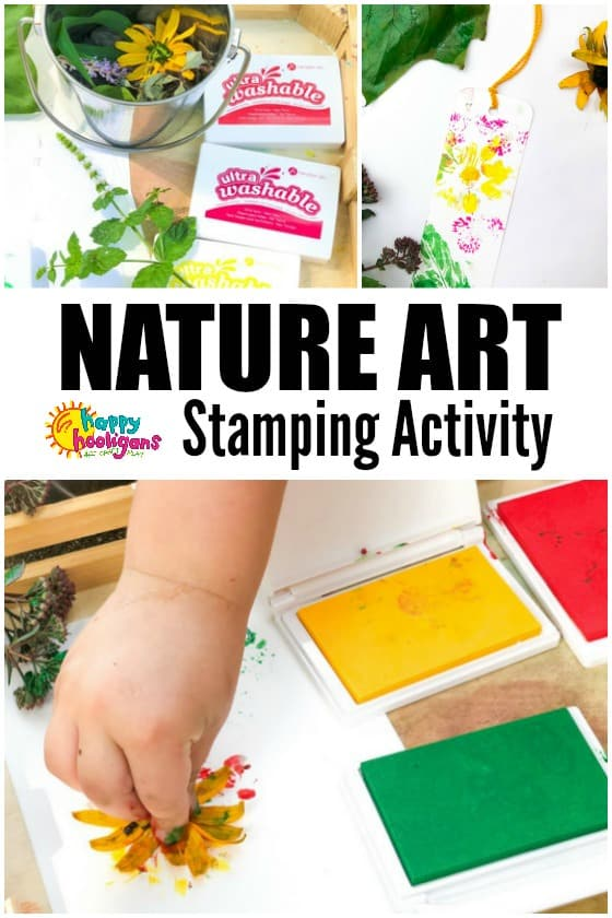 kids stamping art with flowers and leaves