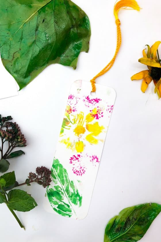 bookmark made by stamping flowers and leaves