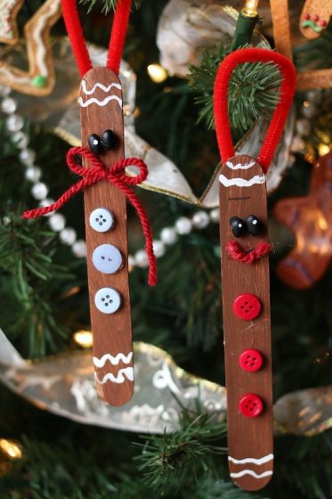 2 gingerbread man ornaments made by kids