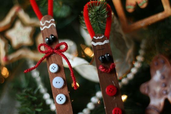 Craft Stick Gingerbread Men Ornaments for Kids