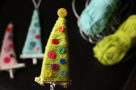 3 twig and yarn christmas tree ornaments