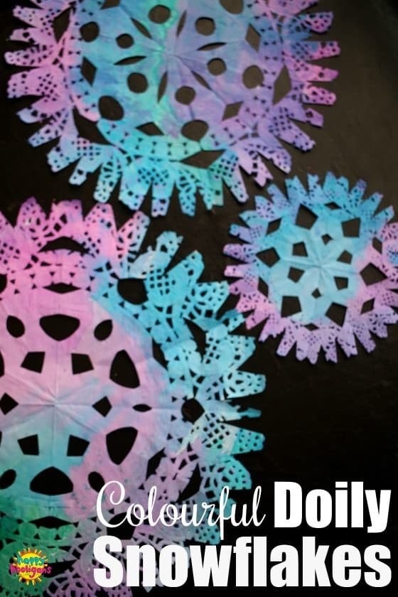 Colourful Paper Doily Snowflakes with Watercolours