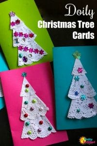 Doily Christmas Tree Cards for Kids to Make