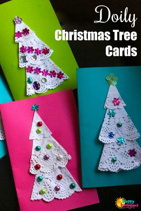 doily christmas tree cards for kids to make happy hooligans doily christmas tree cards for kids to