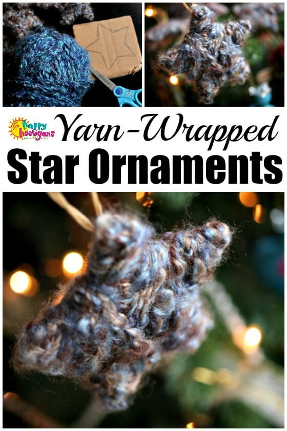 Easy Yarn Wrapped Star Ornaments for Kids